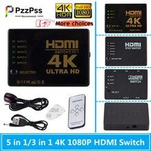 PzzPss HDMI Switcher 4K HD1080P 3 5 Port HD Schalter Selector Splitter Mit Hub IR Fernbedienung Für HDTV DVD TV BOX Z2