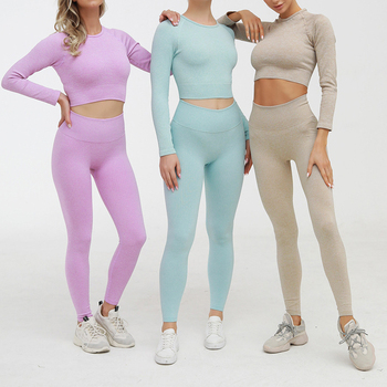 2 Piece Set Women Ribbed Seamless Long Sleeve Yoga Sets Workout Clothes for Women High Waist Sports Legging Long Sleeve Top 2