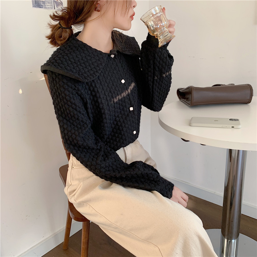 H7d231ccf9884482a9be8885aabffb3c63 - Spring / Autumn Big Lapel Long Sleeves French Lace Buttons Blouse