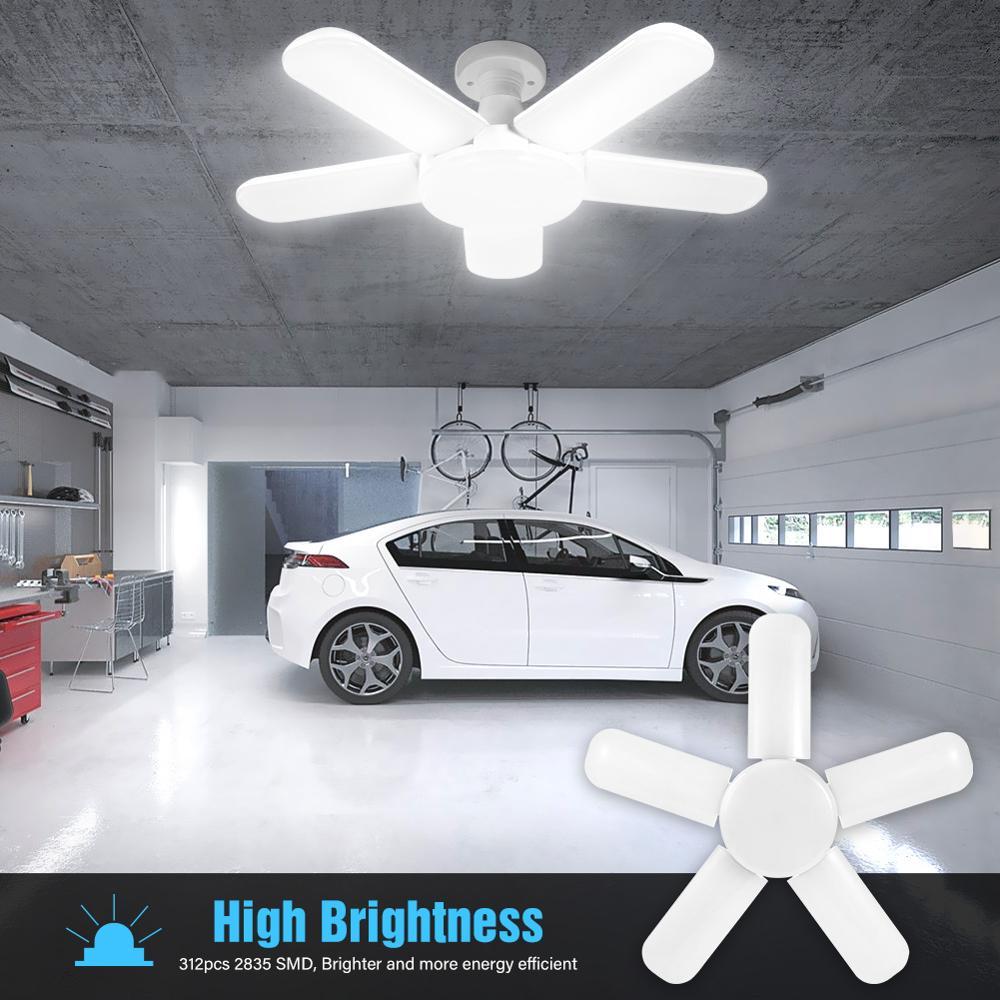 LED Five Leaf Garage Light Foldable Garage Ceiling Lamp Deformation Basement Deformation Basement Adjustable High Bay Light