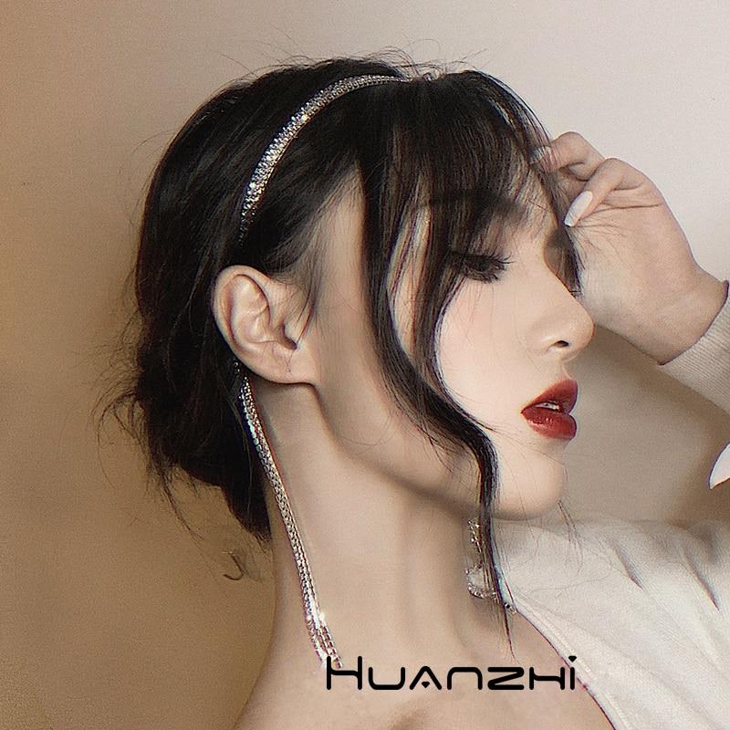 HZ 2020 Elegant Delicate Hair Bands Silver Shiny Crystal Rhinestone Long Tassel Headwear Hair Accessories For Women Wedding