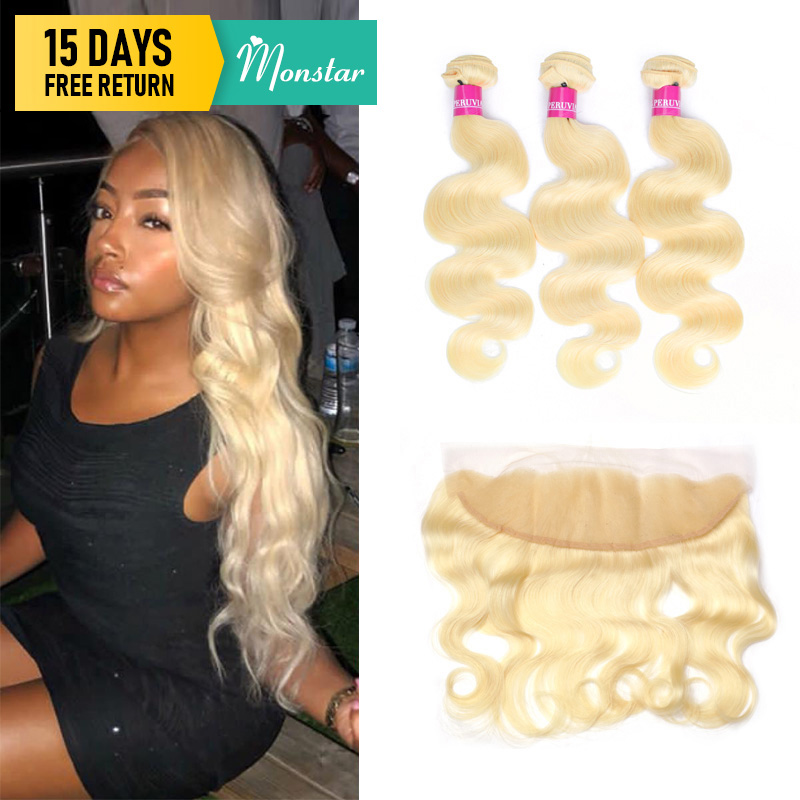 Monstar 2/3/4-bundles Hair Closure Blonde Lace-Frontal Body-Wave Human Brazilian