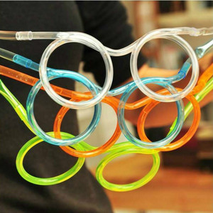 1pcs Funny Soft Plastic Glasses Straw Unique Flexible Drinking Tube Kids Party Bar Accessories Beer Colorful Homebrew Kawaii