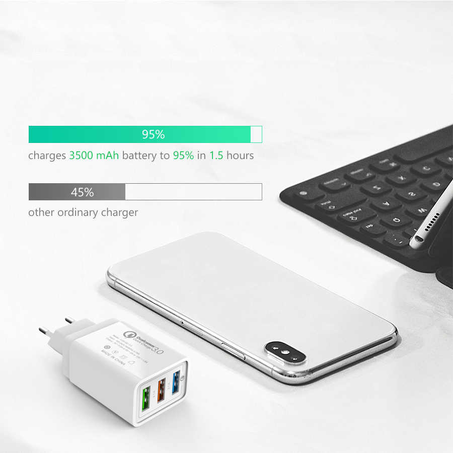 Cargador de móvil de pared QC3.0 cargador USB 3,0/2,0 de 18W para iPhone X Xiaomi mi 9 tableta iPad EU QC carga rápida