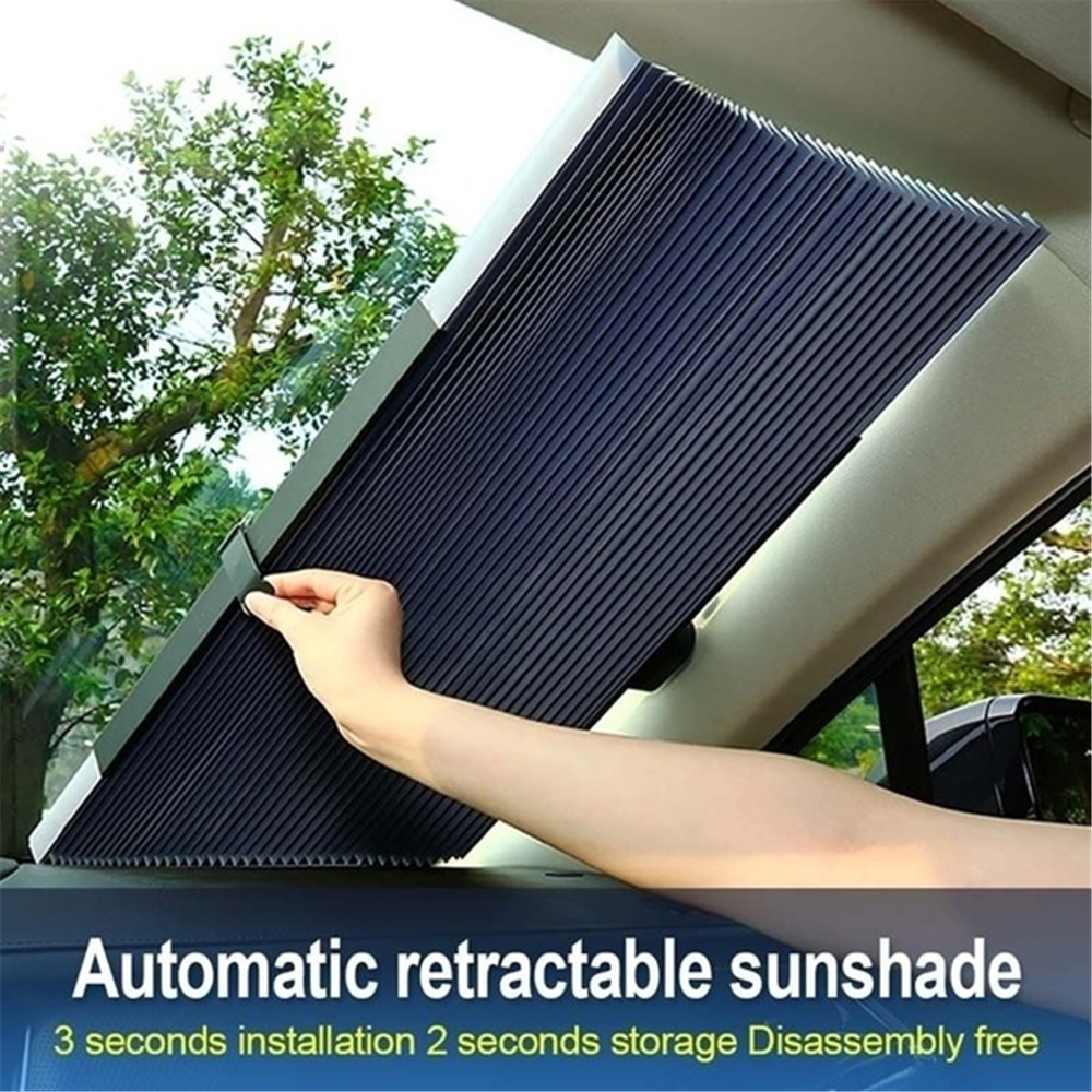 Car Sunscreen Insulation Sunshade Automatic Retractable Folding Front Windshield Visor Curtain Blackout Curtain Light Barrier