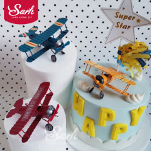 Red Blue Yellow Retro Airplane Cake Decorations Birthday Party Decorations for Baking Cute Gifts