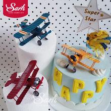 Decoraciones para pastel de avión Retro, decoraciones para fiesta de cumpleaños para hornear, regalos bonitos, rojo, azul y amarillo