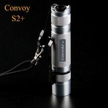 LED Flashlight Silver Convoy S2+ with XPL HI Led Ar-coated Glass Biscotti Firmware EDC Torch Lanterna LED Mini 18650 Flash Light