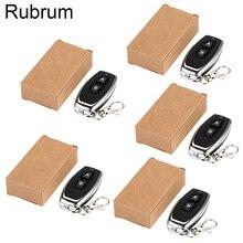 Rubrum 5 pçs 433 mhz 2ch controle remoto sem fio universal 1527 código de aprendizagem transmissor para portão porta da garagem controlador luz