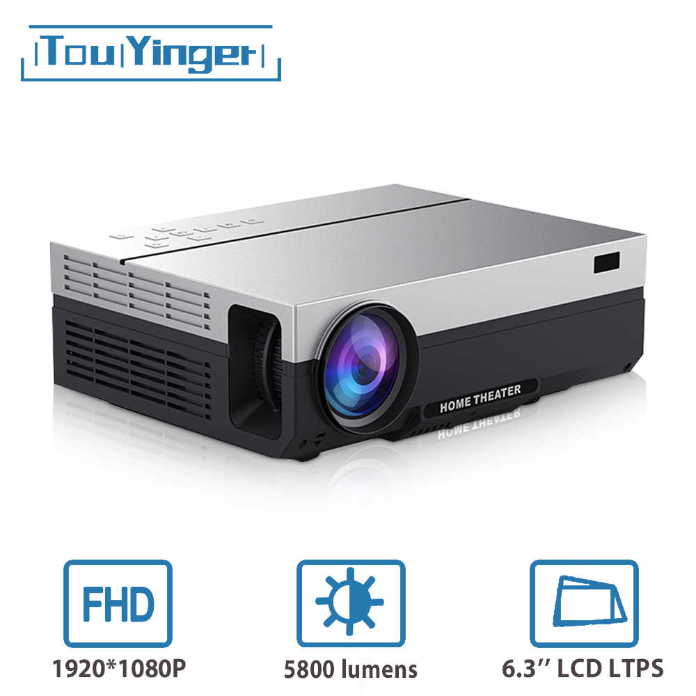 Touyinger T26L T26K 1080P LED Full HD Proyektor Video Proyektor 5800 Lumen FHD 3D Home Cinema HDMI ( Android 9.0 Wifi AC3 Opsional)