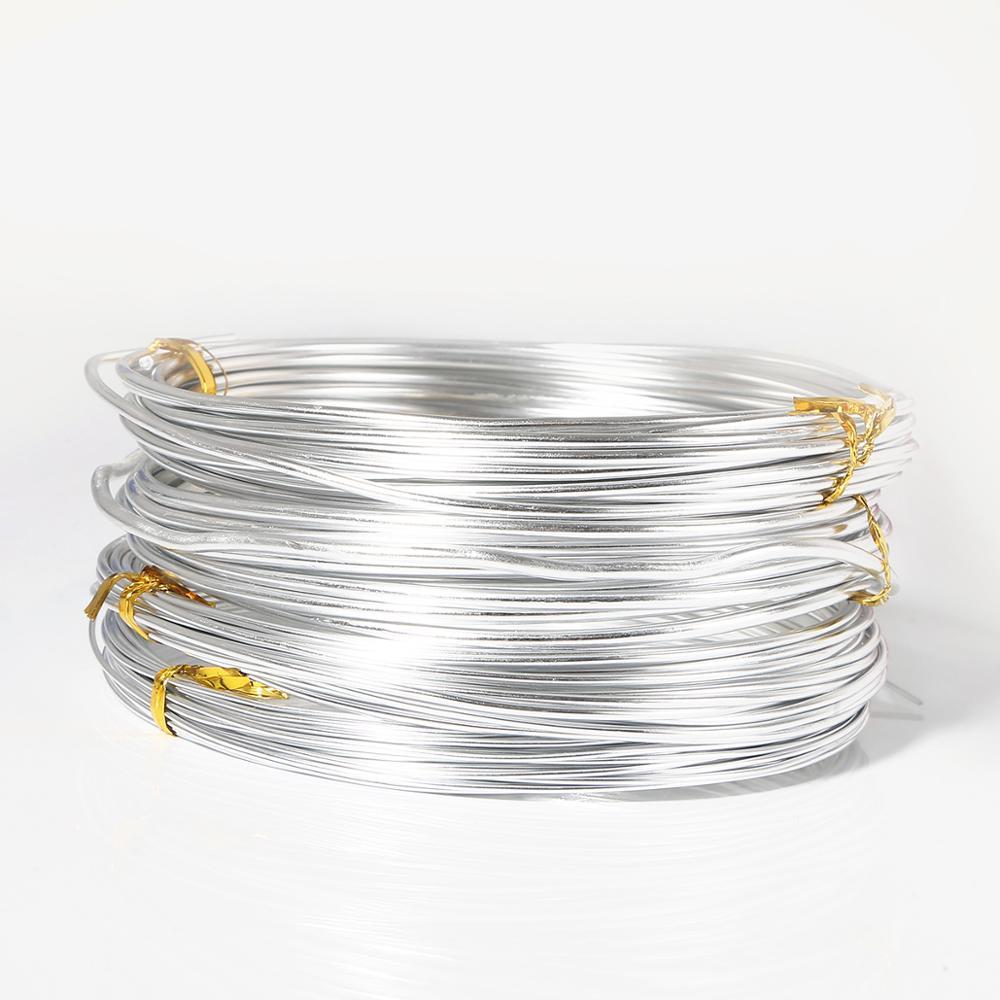 1 rolo de Fio De Alumínio de Cor Prata Jóias Descobertas para Fazer Jóias DIY Colar Pulseira 0.8 milímetros 1 milímetros 1.5 milímetros 2 milímetros 2.5 milímetros