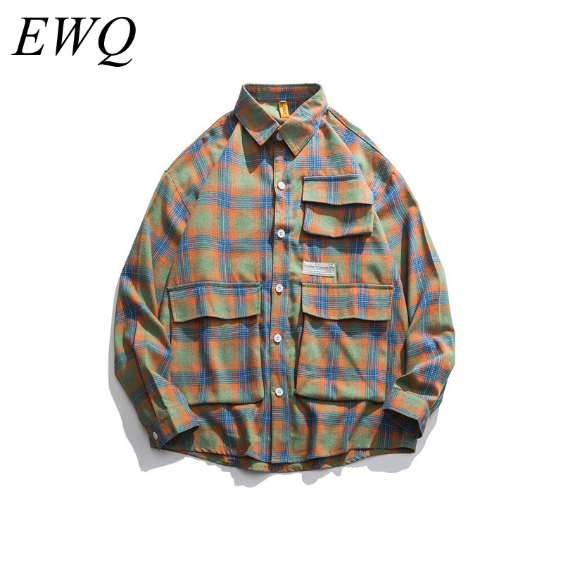 EWQ / Can Ship Men's Waer 2020 Spring Fashion New Design Tide Many Pocket Lattice Shirt For Male Loose Large Size Tops 9Y819
