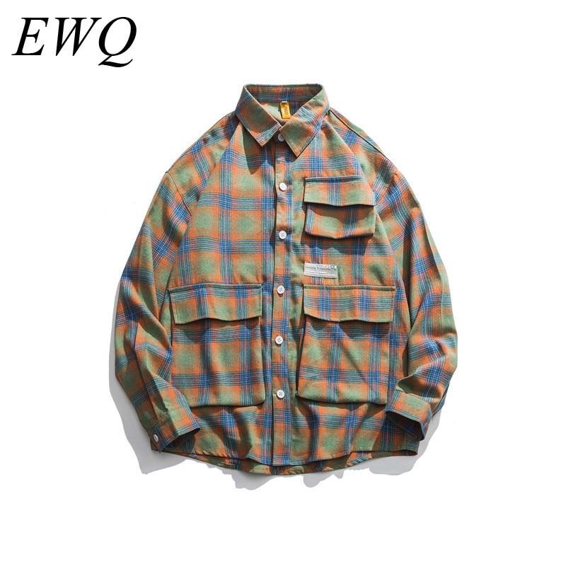 EWQ / Can Ship Men's Waer 2020 Spring Fashion New Design Tide Many Pocket Lattice Shirt For Male Loose Large Size Tops 9Y819