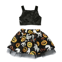 Halloween Baby Girls Casual Sleeveless Sequin Vest T-shirt Tops+Pumpkin Pattern Skirt Costume Set #p цена