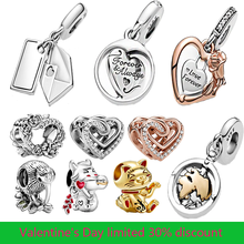 2021 Hot Sale New 925 Sterling Silver Beads Hearts Rose Flowers Charms Fit Original Pandora Bracelet Women Jewelry DIY Gift