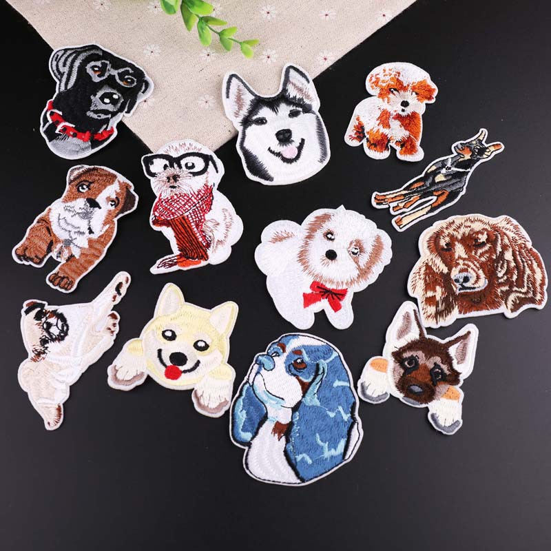 NEW 1 pc SMILING DOG  Iron On Embroidered Applique  Puppy