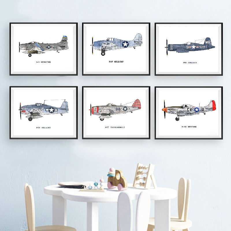Vintage Airplane Posters And Prints Airplane Nursery Decoration Kids Room Wall Art Canvas Painting Pictures Decor A643 image