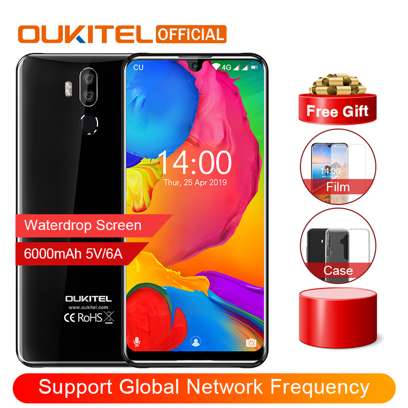 """OUKITEL K9 Waterdrop 7.12"""" FHD+ 1080*2244 16MP+2MP/8MP Mobile Phone 4GB 64GB Face ID Smartphone 6000mAh 5V/6A Quick Charge OTG"""