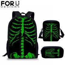 FORUDESIGNS Novelty Skeleton Backpack 3pcs/set for Boy Girls Student Travel Bagpack Casual School Bag Custom Image Rucksack 2019
