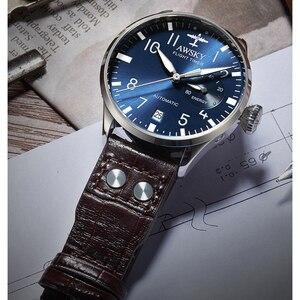 Image 3 - 2019 yeni erkek otomatik Pilot saatler çapı 41.5mm safir kristal 50m su geçirmez moda paslanmaz çelik erkek kol saati