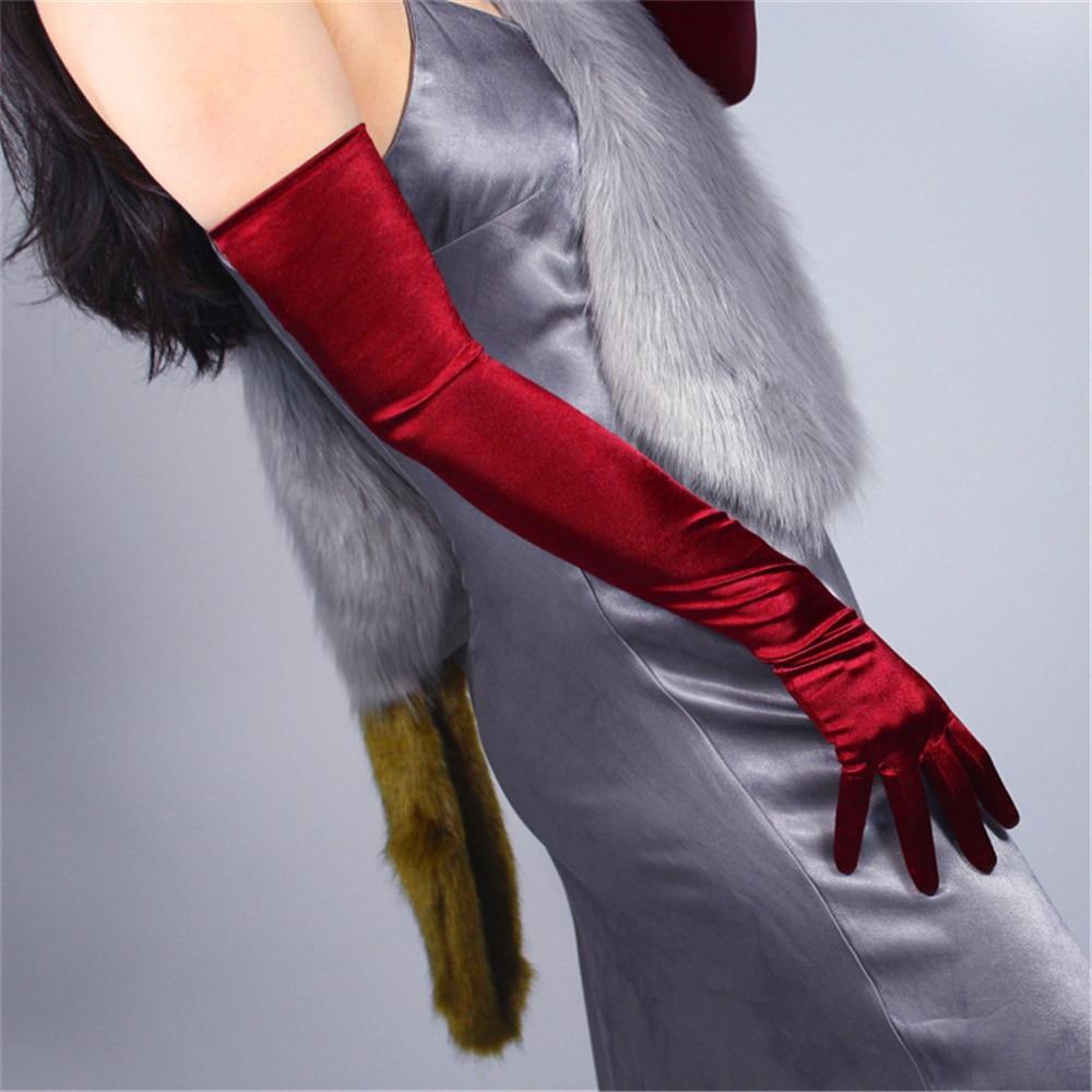 Silk Gloves Female 58cm Elastic Silk Satin Deep Red Wine Red Long Sunscreen Gloves 3-SCJH58