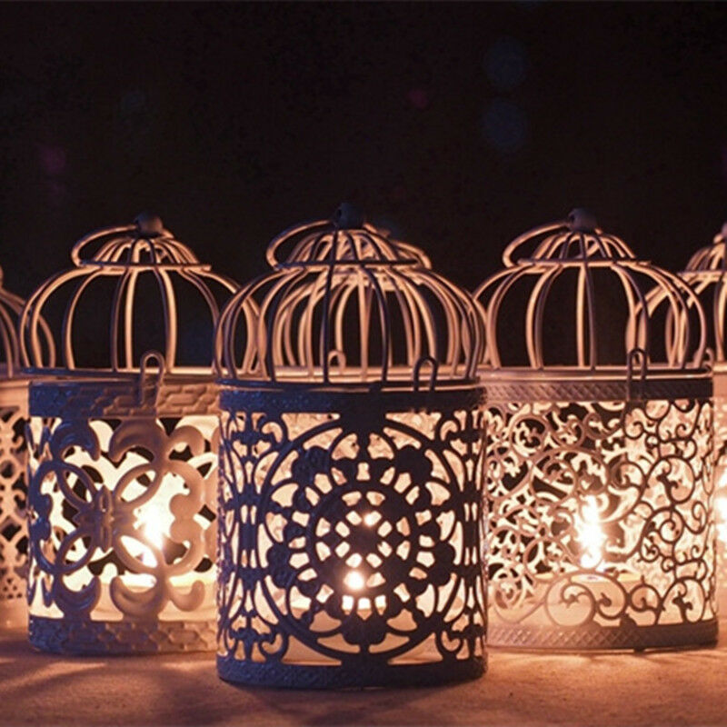 Lantern Hollow Hanging Bird Cage Candle Holder Candlestick Lantern Classic Wedding Decor