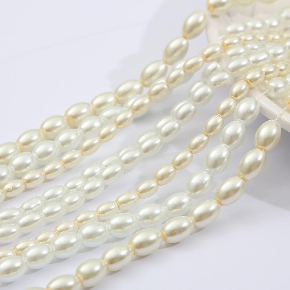 4x 6/6x8mm forme ovale verre Imitation perle perles perles entretoises en vrac pour collier à faire soi-même boucle d'oreille Bracelet bijoux fabrication vêtement