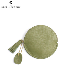 SC Fashion Genuine Leather Women Wallet Mini Coin Purse Zip