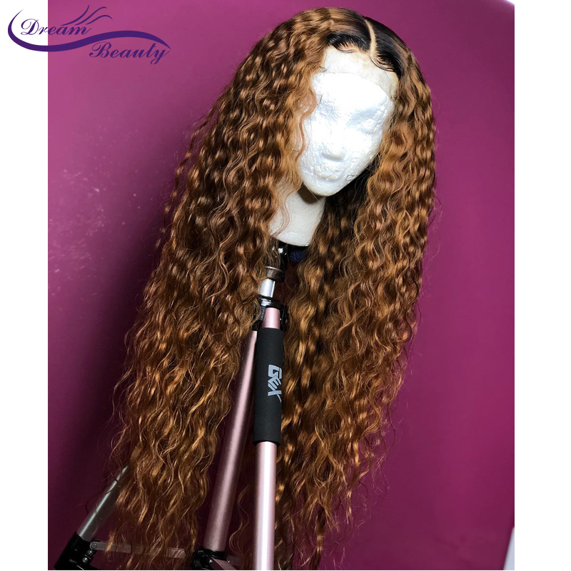 H7d248a8d434e4434b566b79bd5e4d0837 Ombre Blonde Curly Wig 13x4 Lace Front Human Hair Wigs Pre Plucked Ombre 1B/27 Color Brazilian Remy Hair Baby Hair Dream Beauty