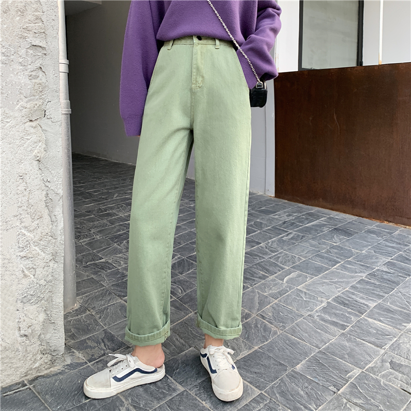 New Style Retro Army Green Jeans Women High-waisted Straight-Cut Casual   Capri     Pants   2020 Spring Summer Korean Trendy Trousers