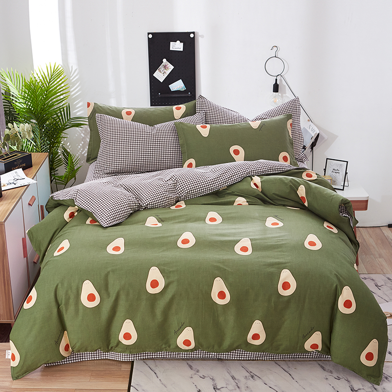 Avocado Pattern Pure Cotton Bedding Set For Kids Adult Duvet Cover 4 Size Printing Bed Set Green Home Textiles Bedclothes 3/4pcs