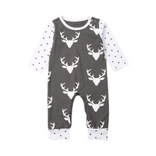 Baby Girl Clothes Toddler Infant Baby Boys Girls Kids Deer Christmas Clothes Long Sleeve Romper Hat One-piece Xmas Set new 3pcs newborn baby boys girls christmas clothes crawl walk hunt romper deer pants hats caps xmas elk outfits toddler baby set