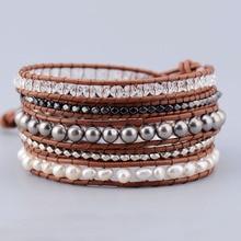 Изысканные жемчужные, Кристальные, серебряные, гематитовые бусины, 5 Слоистых кожаных браслетов с жемчугом, плетеный браслет, Прямая поставка, ювелирное изделие