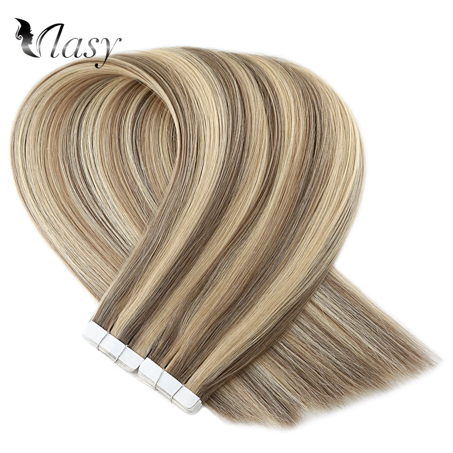 Vlasy 16'' 20'' 24'' Remy Tape In Hair Extensions Piano Color Straight Double Drawn Skin Weft Adhesive Tape Extensions