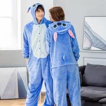 Kigurumi Flannel Unicorn pajamas 2019 Winter Men Women Cartoon Animals Stich Sleepwear Pocket Leprechaun Cosplay Show XL