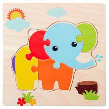 цена на 3D Wooden Puzzle Jigsaw toys Children Baby Cartoon Animal Puzzles Educational Toy Kids Toy