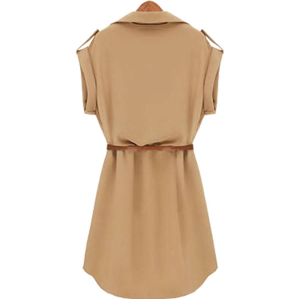 Women Casual Summer Shirt Dress Summer Dress Loose Short Sleeve Dress With Belt Turn Down