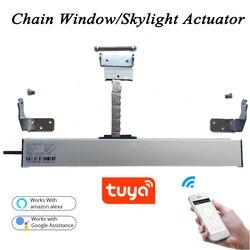 3 linie AC220V Smart Wifi fenster opener Tuya Motorisierte Kette opener fenster Antrieb Dachfenster flügel Gewächshaus Home automation