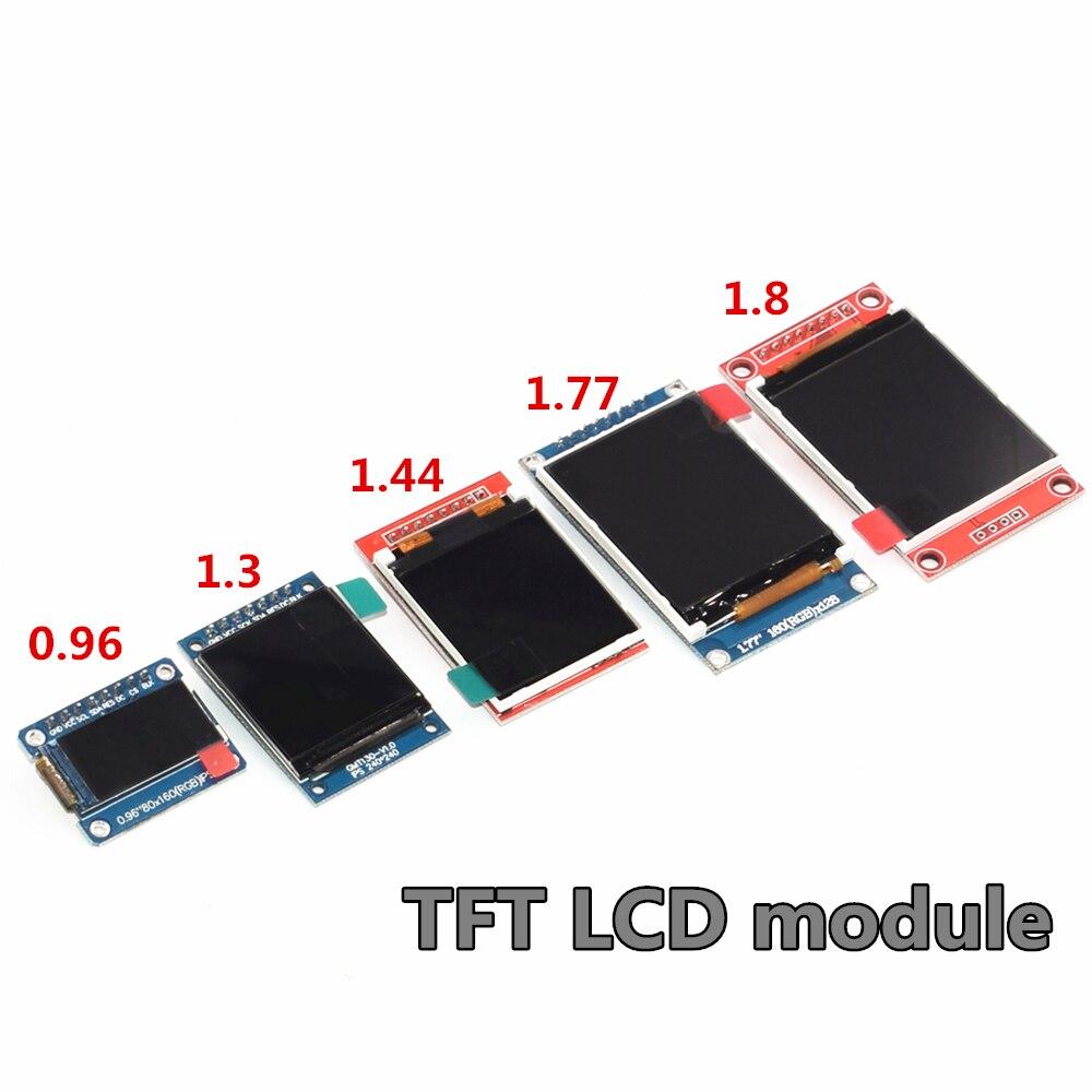 Módulo lcd tft, 0.96/1.3/1.44/1.77 polegadas, módulo spi, cor completa, lcd, drive ic