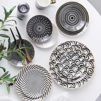 1 pc utensílios de mesa phnom penh geometria utensílios de mesa 6/8/10 Polegada prato de jantar cerâmica porcelana sobremesa placa louça bolo placa