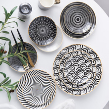 1PC Tableware Phnom Penh Geometry Tableware 6/8/10 Inch Ceramic Dinner Plate Dish Porcelain Dessert Plate Dinnerware Cake Plate phnom penh salad plate phnom penh glass tableware plate hand painted gold edge fruit plate golden storage plate