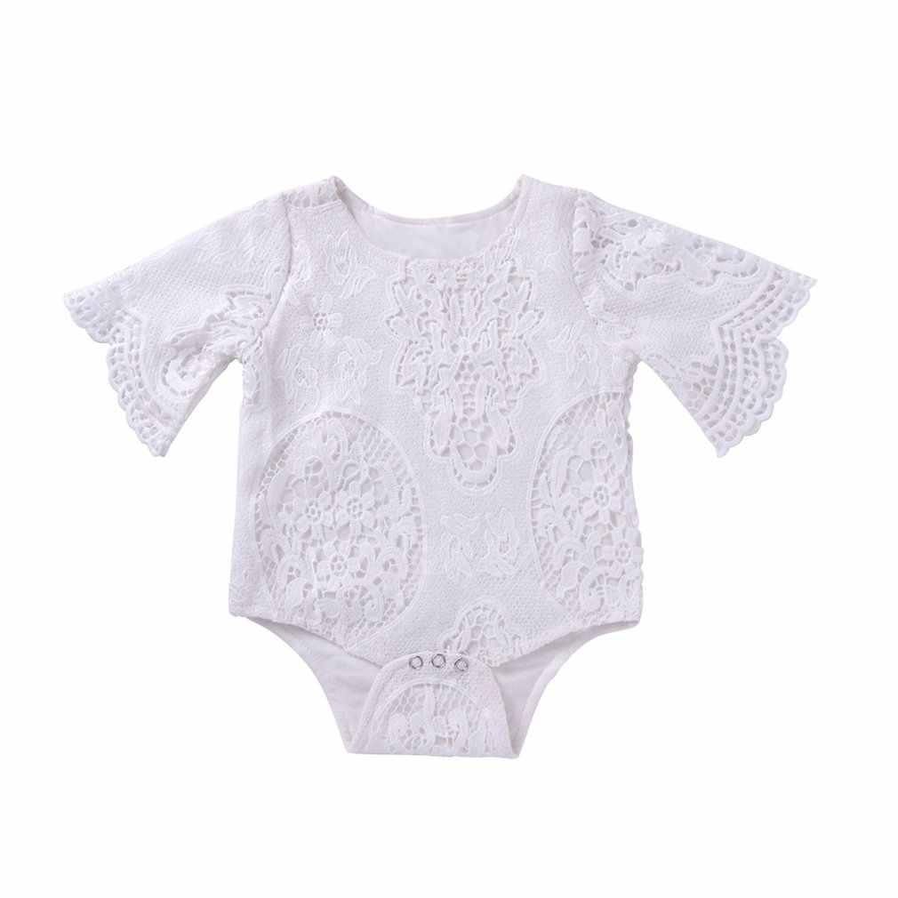 Schöne Neugeborenen Baby Mädchen Spitze Fledermaus Ärmel Oansatz Baumwolle Kleinkind Spielanzug-bodysuit Overall Outfits Täglichen Verschleiß