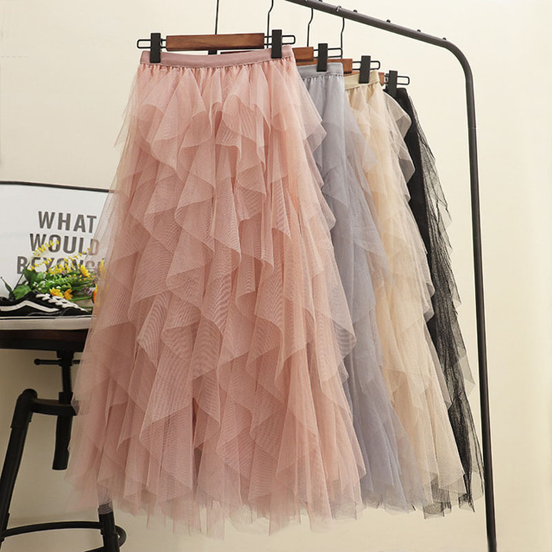 New Style Women's Fashion Tutu Tulle Skirt Women Long Ball Grown Mesh Skirt Net Yarn High Waist Skirt