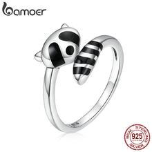 Bamoer-anillos de dedos de mapache esmaltados negros para mujer, de Plata de Ley 925 auténtica, joyería fina ajustable tamaños diferentes SCR652