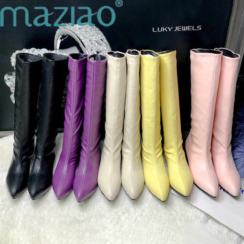 Pointed Toe Slip-On Knee High Boots Women Soft Leather low heel Sewing autumn winter boots comfortable Sexy women boots MAZIAO