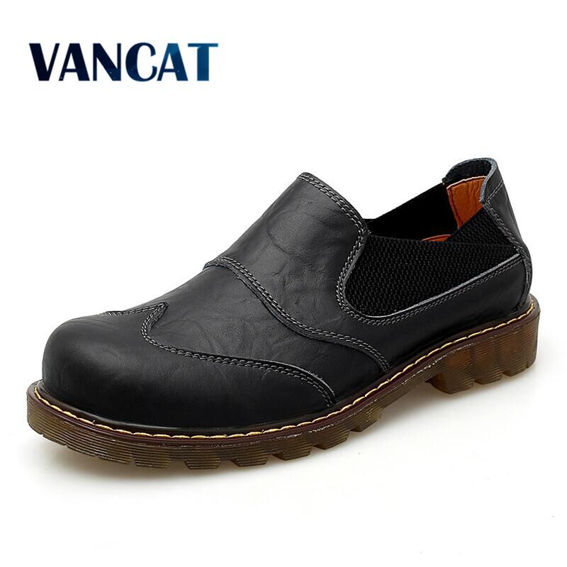Vancat Brand New Breathable Oxford Men's Shoes Top Quality Dress Shoes Men Flats Fashion Genuine Leather Casual Shoes Work Shoes