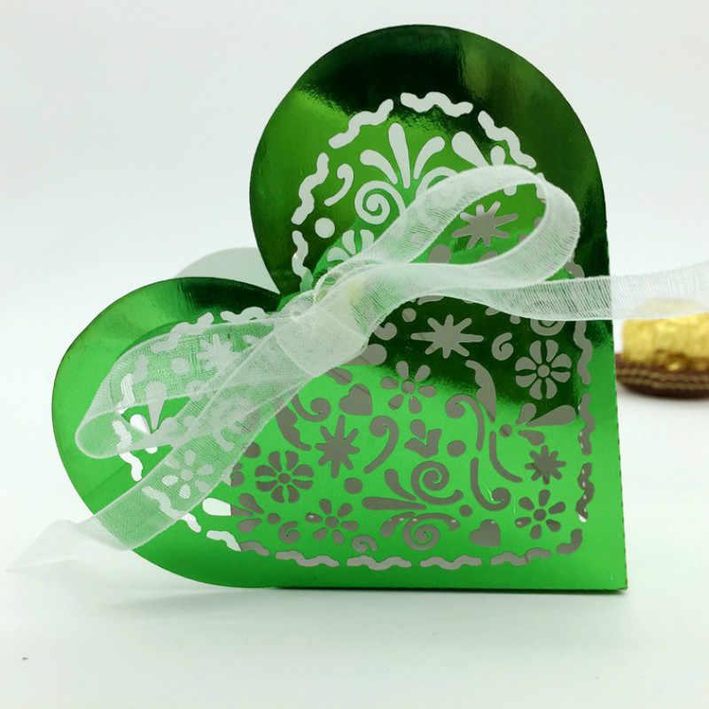 10 Uds caja de dulces dragee caja de regalo de Navidad amor corazón decoración de la boda Favor bolsa de regalo de papel para fiesta halloween suministros 5z