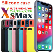 цена на Luxury Original Silicone Phone Case For iphone 7 8 Plus For Apple Cover For iPhone 6 6S Plus X XS MAX XR 7 8 No Logo Cases Capa