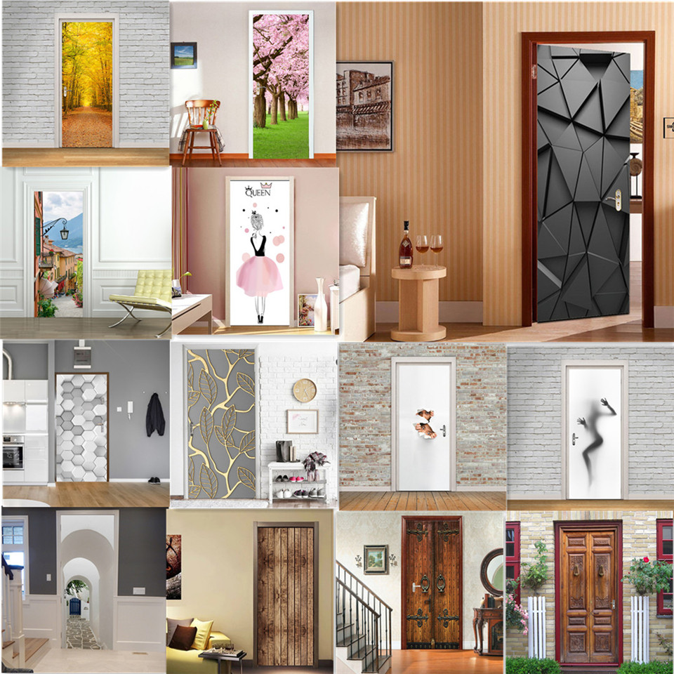 Modern Fashion 3D Door Stickers Home Renew Decor Wallpaper Self-adhesive Waterproof Poster De Portes DIY Deur Sticker Door Mural
