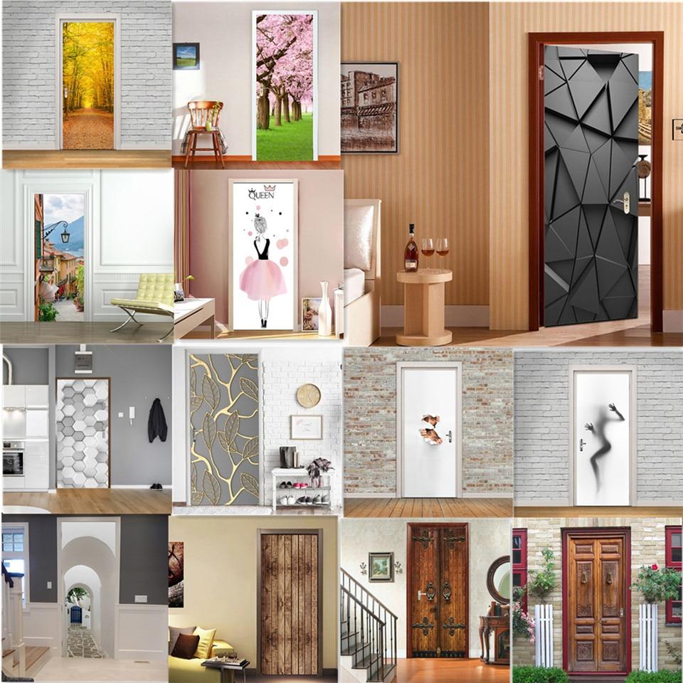 Modern Fashion 3D Door Stickers Home Renew Decor Wallpaper Self-adhesive Waterproof Poster De Portes DIY Deur Sticker Door Mural